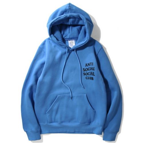 Anti Social Social Club Label Hooded Sweater (Blue)