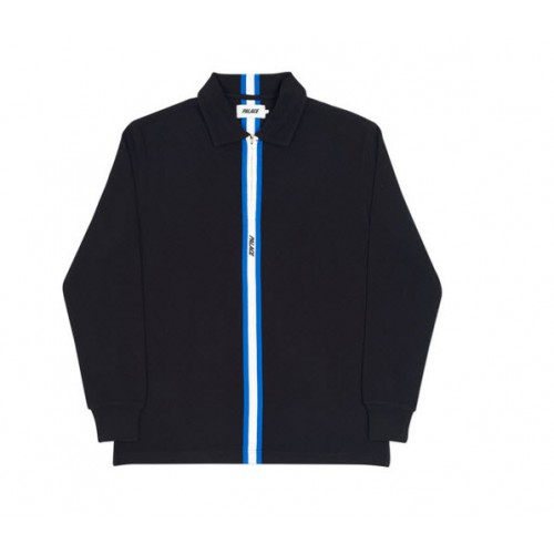 Palace 17FW Vertical Weave Zip Polo Shirt (Black)
