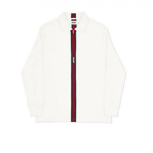 Palace 17FW Vertical Weave Zip Polo Shirt (White)