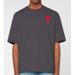 Ami Embroidered Red Heart Logo T-Shirt (Grey)