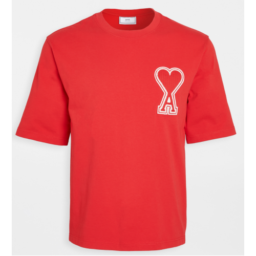 Ami Large Heart Patch T-Shirt (Red)