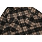 Represent Double Pocket Flannel Long Sleeve Button Up Shirt (Brown)